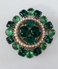 EXQUISITE-Unsigned-Schreiner-Gripoix-Glass-amp-Rhinestone-Domed-Vintage-Brooch