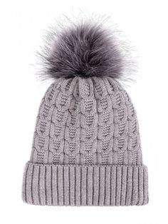 67ae3eaeb9d Women Winter Faux Fur Pompom Knit Sherpa Lined Beanie Hat - Grey Beanie  With Fur Pom - C7188L7THQ4