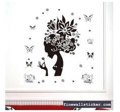 fashion design removable wall stickers peal off the sticker without leaving any glue on the wall Girls Wall Stickers, Removable Wall Stickers, Flower Wall Stickers, Wall Decals, Beautiful Wall, Beautiful Flowers, Floral Wall, Cool Walls, Home Decor