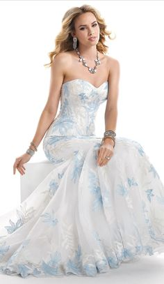 Lovely pretty wedding dress with blue accent Maggie Sottero