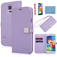 Galaxy S5 case,By Ailun,Wallet Case,PU Leather Case,Credit Card Holder,Flip Cover Skin[Purple],with Screen protector with Styli Pen