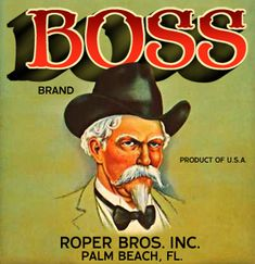 'Boss Brand' A Beautiful Glossy Art Print Taken From a Vintage Produce Crate Label Dog Crate Tray, Milk Crate Shelves, Winter Garden Florida, Plastic Dog Crates, Old Wooden Crates, Vegetable Crates, Boss Brand, Apple Crates, Vintage Florida