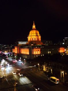 Photo taken by Joyce Cohen of San Francisco City Hall during the Giants World Series!