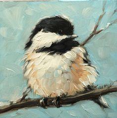 "Chickadee art, impressionistic, 4x4"" original oil painting of a Chickadee, Bird Paintings,"