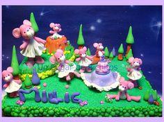 Decoración de Torta Bosque con Ratoncitas Bailarinas