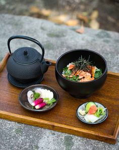 Salmon and rice with green tea and pickled vegetables (salmon ochazuke with asazuke)