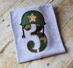 Army or marine helmet applique birthday by SimplieGirlieDesigns