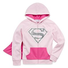 DC Supergirl Girls Pink Hoodie Jacket with Cape