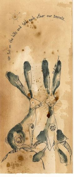 This 'I'm All Ears' original drawing is 103mm x 250mm in size. The pair of hares sit patiently on hand stained paper which gives them an aged appearance like old calico toys. 'I'm All Ears' has bee...