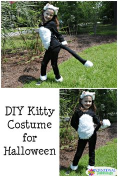 DIY Kitty Costume for little girls this Halloween #HalloweenCostumes Tap the link for an awesome selection cat and kitten products for your feline companion! Bow Chicka Meow Meow