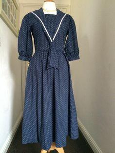 LAURA ASHLEY Vintage Sailor Dress 100% Cotton Lawn Light Blue Polka Dot 12UK