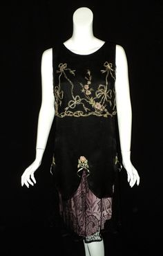 """1920s Embroidered Tulle with Silver Lame """"Bellasoiree Original"""" design Dress Antique Textiles"""