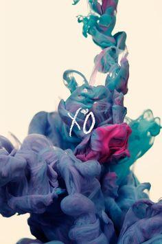xo pink and blue smoke wallpaper