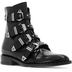 Philipp Plein buckle strap studded boots (1715 PAB) ❤ liked on Polyvore featuring shoes, boots, black spiked boots, black studded shoes, philipp plein shoes, black back zip boots and black buckle boots