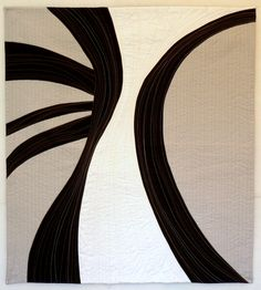 """Miles to Go, 36 x 32"""", by Nancy Bardach.  """"Sheen"""" (Hebrew letter) calligraphy series   art quilts."""