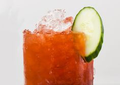Strawberry-Balsamic Smash - lime, cucumber, hulled strawberry, simple syrup, balsamic vinegar, gin.