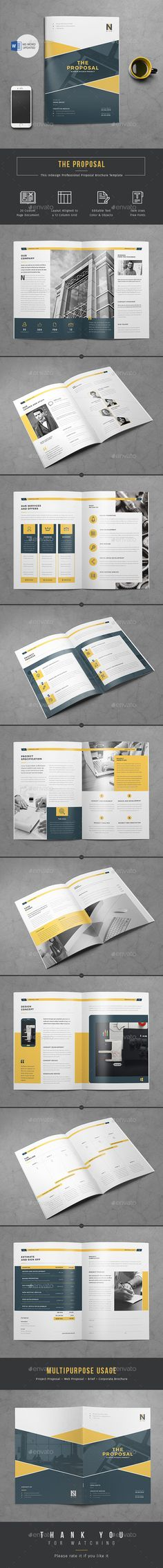 Proposal InDesign/Word Template, 20 page Professional Business Proposal Template is the best suitable choice to work with.