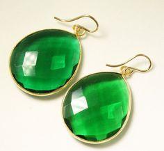 Emerald Drop Earrings from Etsy. Love them!