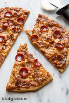 Whole wheat spicy barbecue chicken enchilada pizza with bacon and pepperoni recipe from @bakedbyrachel
