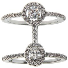 Eternally Haute Rhodium-plated Oval Pave-set Cubic Zirconia Double-row... (27 AUD) ❤ liked on Polyvore