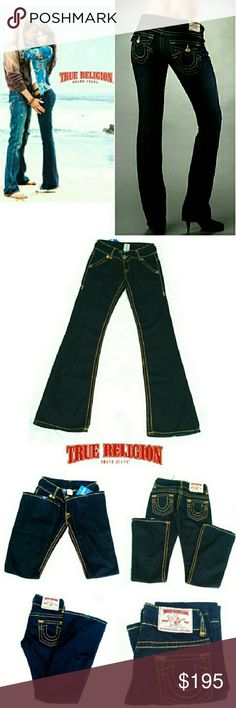 """TRUE RELIGION BILLY SUPER T FLARE JEANS TRUE RELIGION BILLY SUPER T FLARE JEANS  NEVER WORN/ For Similarity *   Size 27 *   RN $ 112790 CA# 30427 *   Standard 5 Pocket Jean's w/Saddle Stitching *   Large Saddle Stitching Thru out Jean's *   Distressed on Back Of Hem Approx Meas; W 14"""" Inseam 33 1/2"""" Rise 7"""" Leg Opening 9 1/2""""?2 Pls See All Pics. Ask ? If Needed True Religion Jeans Flare & Wide Leg"""