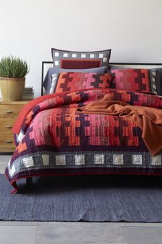 love this color palette - checkmate bedding
