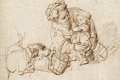 Rembrandt van Rijn, A woman comforting a child frightened by a dog. Rembrandt Etchings, Rembrandt Drawings, Dancing Drawings, Art Drawings, Figure Drawing, Painting & Drawing, Storyboard, Circle Drawing, Francisco Goya