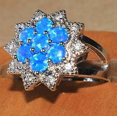blue fire opal Cz ring gemstone silver jewelry Sz 8 rare flower cocktail design