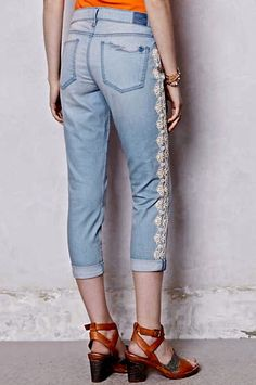 NEW Anthropologie Holding Horses Lace Trimmed Cropped Jeans 27 #Holdinghorses #lacetrimmedjeans