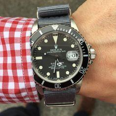 Rolex Submariner 16800 ref - grey nato