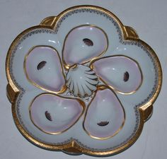 Rare Raised Center Antique Oyster Plate From Nineteenth Century