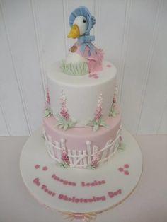 Jemima Puddleduck - Cake by The Stables Pantry Farm Birthday Cakes, Birthday Cake Girls, Fondant Cakes, Cupcake Cakes, Cupcakes, Beatrix Potter Cake, Peter Rabbit Cake, Baptism Cookies, Baby Girl Cakes
