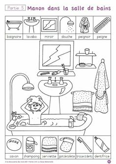 """""""A la decouverte des mot"""" -- ten free printable pages to help children practice hygiene and routine vocabulary in French (""""la salle de bains"""") via cut-and-paste and other worksheets. Four other sets of worksheets on other themes also available. Preschool Worksheets, Preschool Activities, French Worksheets, French Classroom, Hidden Pictures, French Lessons, Teaching French, Learn French, Kids Education"""