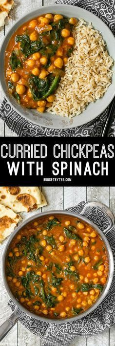 These super fast Curried Chickpeas with spinach are packed with flavor and nutrients, vegan, gluten-free, and filling! Plus they freeze great! meals to freeze Curried Chickpeas with Spinach - with VIDEO - Budget Bytes Veggie Dishes, Veggie Recipes, Indian Food Recipes, Whole Food Recipes, Vegetarian Recipes, Dinner Recipes, Cooking Recipes, Healthy Recipes, Budget Cooking