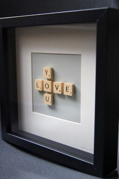 I just made this for valentines day for my boyfriend, the frame was from walmart, the letters I ordered from etsy.com and I used a subtle scrapbook paper behind the letters not a solid color, will post a picture soon!!