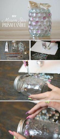 Check out the tutorial on how to make a #DIY mason jar prism light #HomeDecorIdeas #MasonJarCrafts @istandarddesign