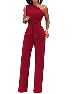 22d2e9c9b8 Malluo Women s Sexy Sleeveless Casual Off One Shoulder Solid Jumpsuits Wide  Leg Long Romper Pants with Belt