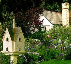 Whimsical Raindrop Cottage, flowersgardenlove: perfect birdhouse an Flowers...
