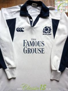 Relive Scotland's international season with this vintage Canterbury away long sleeve rugby shirt. Rugby Kit, Long Sleeve Rugby Shirts, Canterbury, Scotland, How To Memorize Things, The Past, Store, Sweatshirts, Classic