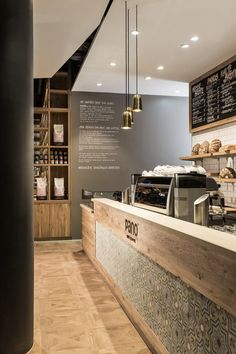pano BROT KAFFEE, Stuttgart, 2014 - Dittel Architekten - really soft interior scheme, has a chain feel without being too branded Bar Design, Counter Design, Coffee Shop Design, Decoration Restaurant, Deco Restaurant, Restaurant Bathroom, Pub Decor, Modern Restaurant, Café Bar