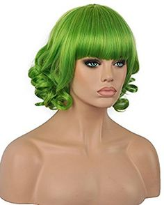 Diy-Wig Bottom Curly Short Green Full Cap Wigs with Flat . 412a4151dc8e