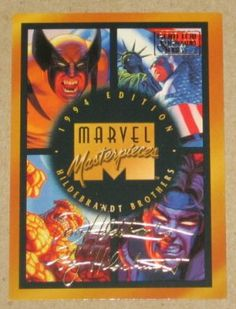 Marvel Masterpieces 1994 (Fleer) Gold-Foil Signature Parallel Card #140 Checklist EX