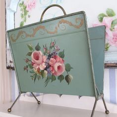 Vintage HP Tole TOLEWARE Magazine Rack PINK ROSES on Turquoise * Brass Handle