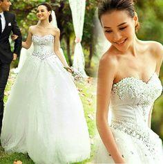 Ivory white rhinestone wedding dress.