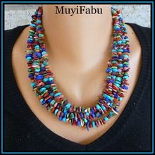 "$175 ""Chica Boom"" Turquoise, Coral, Lapis, Gressenite, Spiny Oyster Multi-Strand Necklace  http://www.rubylane.com/shop/muyifabu"