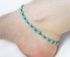 Blue Beaded Anklet Forget Me Not Flower Anklet от JewelleryByJora