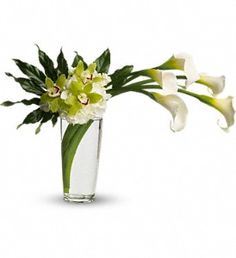 Modern, Romance. Elegance! Captivating callas, white hydrangea, exotic orchids in a stunning tall glass vase
