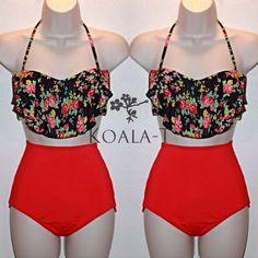 Floral Print Flounce Top & Red High Waist Bikini! LIMITED EDITION! on Etsy, $34.99