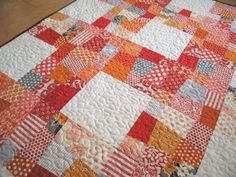 wonky ninepatch quilt by elizabeth hartman. includes a great wonky block tutorial.