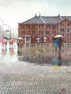 赤坂孝史の水彩画の画像 Watercolor Drawing, Watercolor Paintings, Watercolours, Rain Art, Japanese Modern, Modern Art, Art Walls, Animation, Architecture